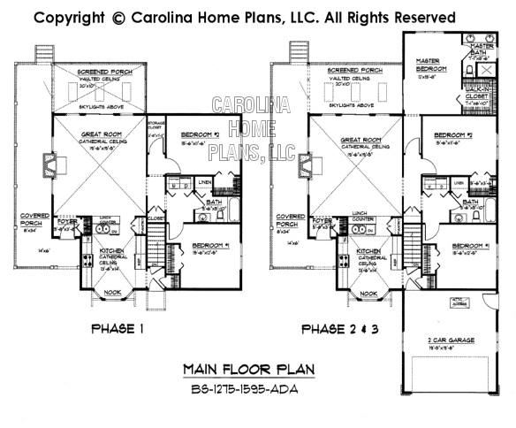 Small Build in Stages House Plan BS     AD Sq Ft   Small    BS    Main Floor Plan