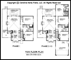 Small Build-in-Stages House Plan BS-1275-1595-AD Sq Ft ...