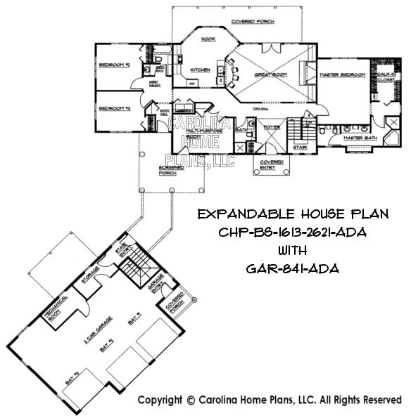 Build in stages 2 story house plan bs 1613 2621 ad sq ft for Semi attached house plans