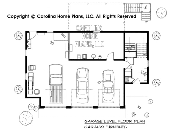 GAR-1430-AD Furnished Garage Floor Plan