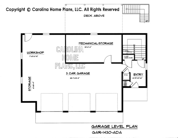 GAR 1430 Lower Level Garage Plan