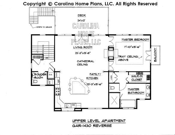 GAR-1430 Reverse Upper Level Apartment Plan