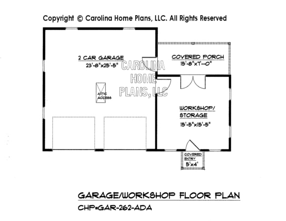 Country style garage workshop plan gar 262 ad sq ft for Two car garage with workshop plans