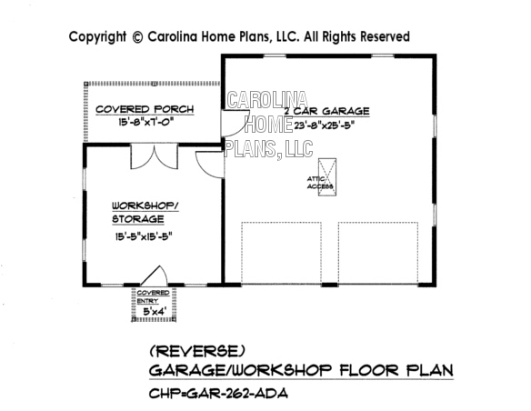 GAR-262 Reverse Garage/Workshop Plan