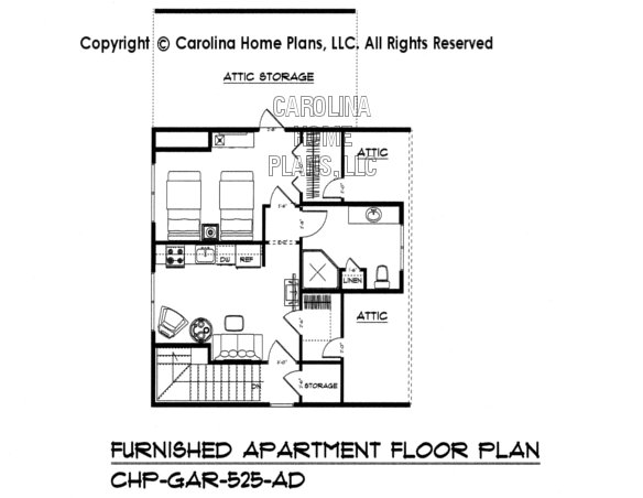 GAR-525-AD Furnished Upper Level Apartement Plan