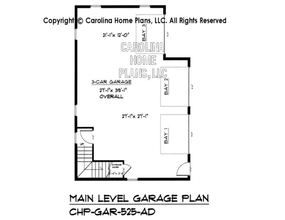 GAR-525 Lower Level Garage Plan