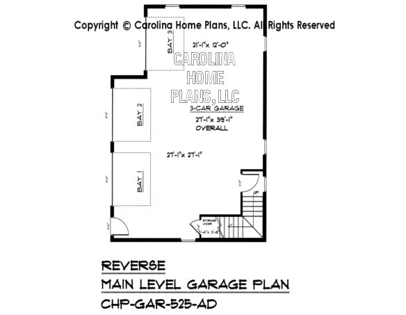 GAR-525 Reverse Lower Level Garage Plan