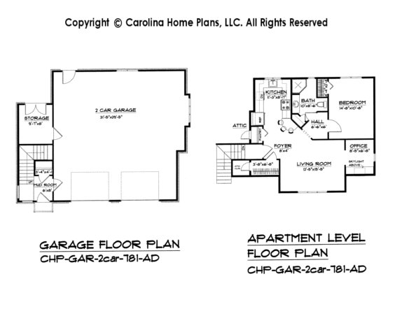 Attractive GAR 781 2 Car Garage Apartment Plan