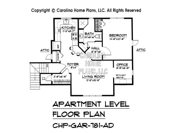 Craftsman garage apartment plan gar 781 ad sq ft small for Garage plans with apartment one level