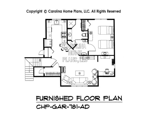 GAR-781-AD Furnished Upper Level Apartement Plan