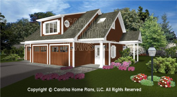 3D Images For CHP-GAR-841-AD | Garage-Apartment 3d House Plan Views