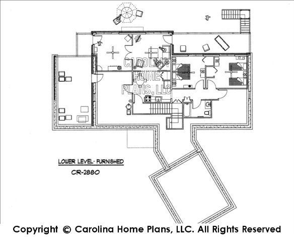CR-2880-GA Furnished Lower Level Floor Plan