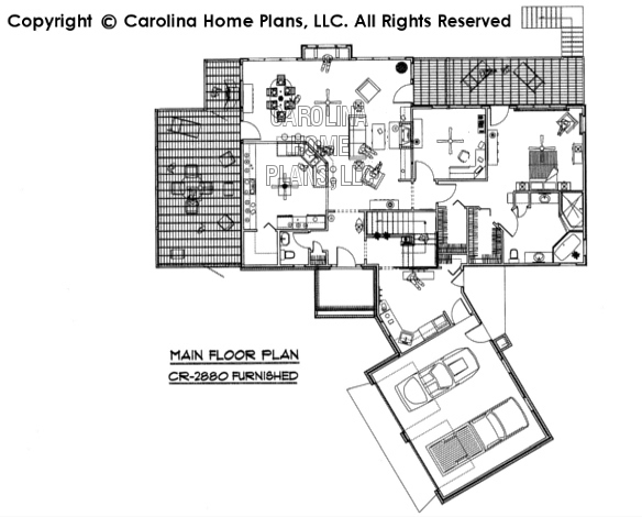 CR-2880-GA Furnished Main Floor Plan