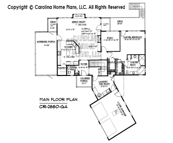 Large contemporary ranch style house plan cr 2880 sq ft for Large ranch home floor plans