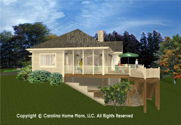 3d images for chp cr 3191 ga elegant contemporary ranch for Side view house plans