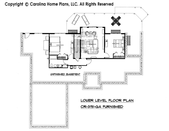 CR-3191-GA Furnished Lower Level Floor Plan