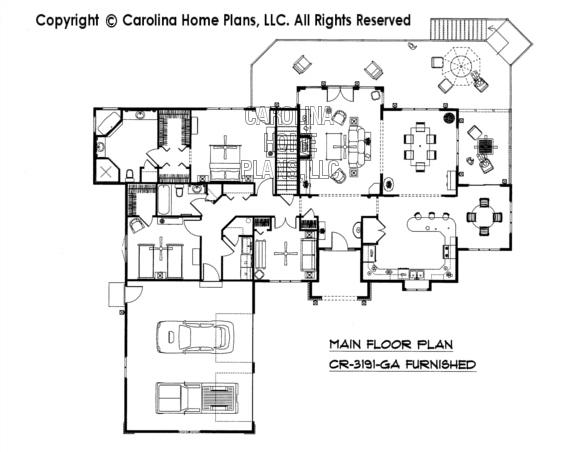 CR-3191-GA Furnished Main Floor Plan