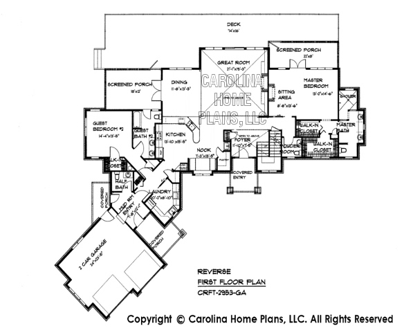 Large House Plans click here to mirror reverse image Enlarged Floor Plan Below Crft 2953 Reverse First Floor Plan