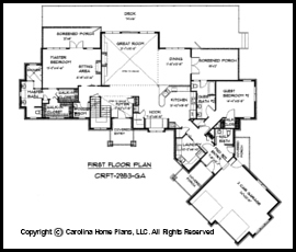 Large House Plans floor plan Crft 2953 First Floor Plan