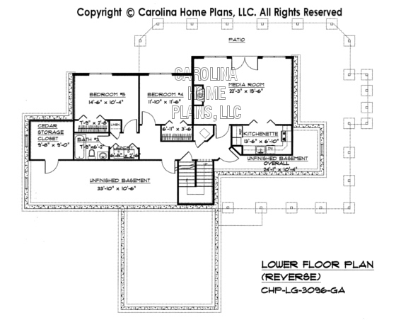 Large hillside ranch home plan chp lg 3096 ga sq ft for Reverse ranch floor plans
