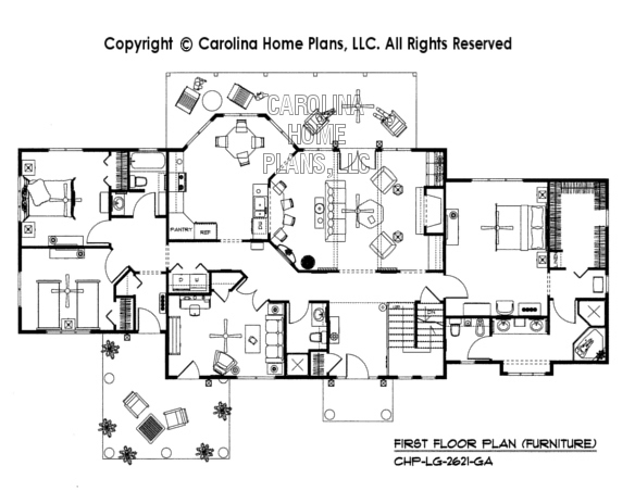 LG-2621-GA Furnished First Floor Plan