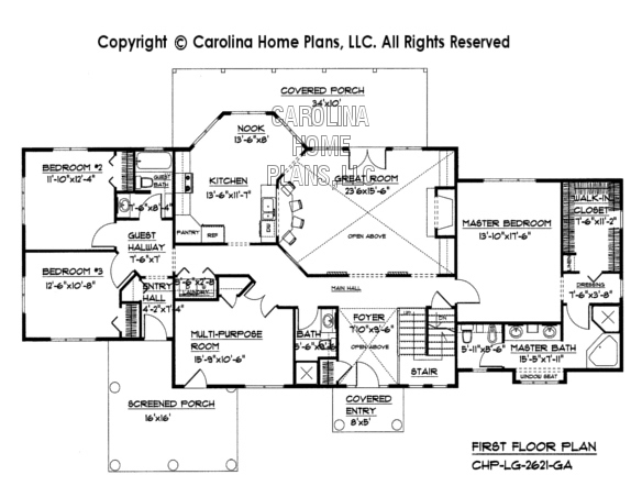 Large open floor house plan chp lg 2621 ga sq ft large for House floor plans without garage