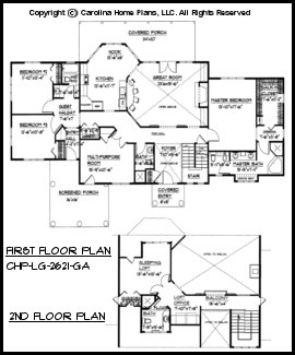 Pdf file for chp lg 2621 ga large open floor home plan for Open house plans with pictures