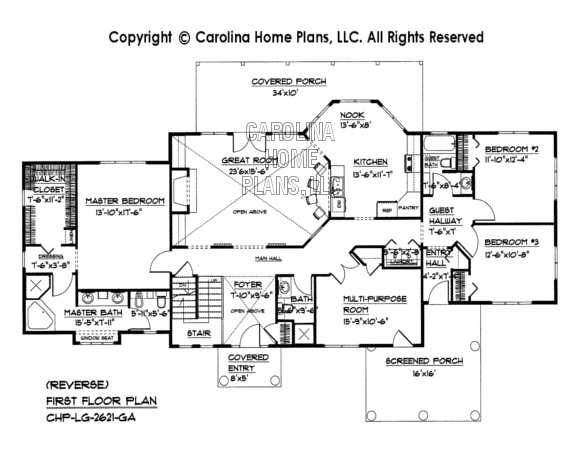 LG-2621 Reverse First Floor Plan