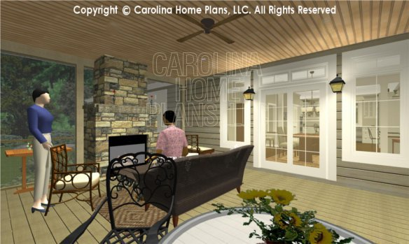 LG-2715 3D Screened Porch to Fireplace