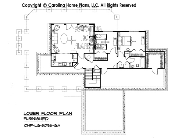 LG-3096-GA Furnished Lower Level Plan