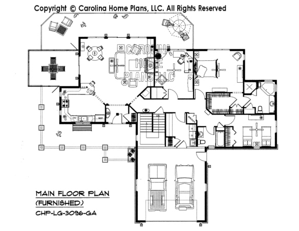 LG-3096-GA Furnished Main Floor Plan