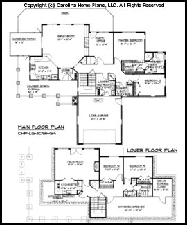 Large hillside ranch home plan chp lg 3096 ga sq ft for Large ranch floor plans