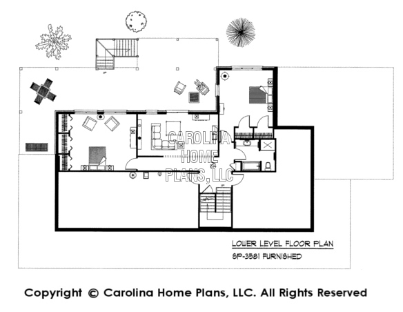 SP-3581-GA Furnished Lower Level Floor Plan