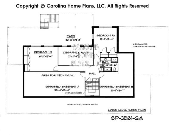 SP-3581 Lower Level Floor Plan