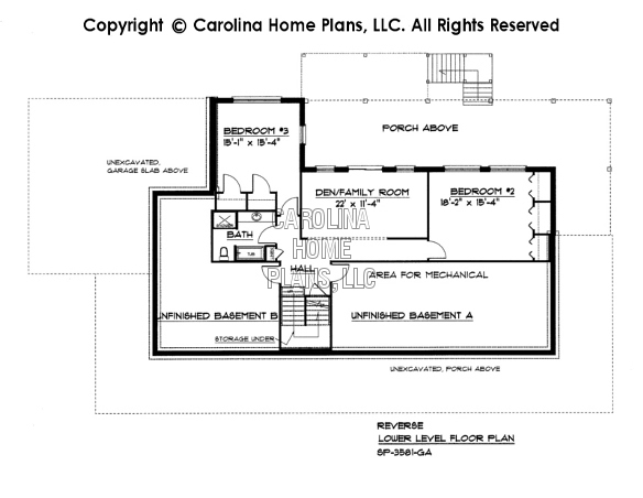 SP-3581 Reverse Lower Level Floor Plan