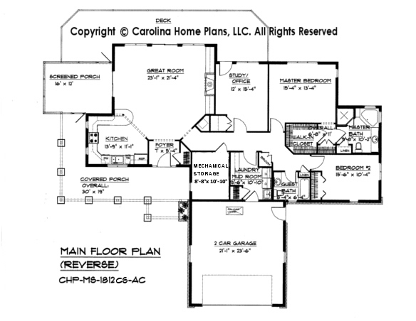 Mid sized open house plan chp ms 1812 ac sq ft for Crawl space house plans