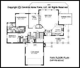 Mid sized open house plan chp ms 1812 ac sq ft How to calculate room size in square feet