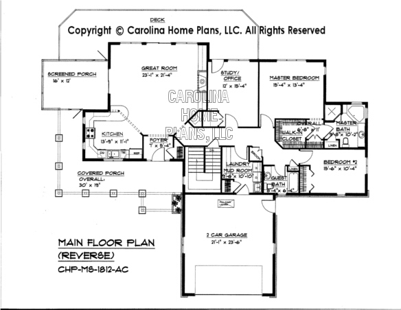Mid sized open house plan chp ms 1812 ac sq ft for Carolina house plans