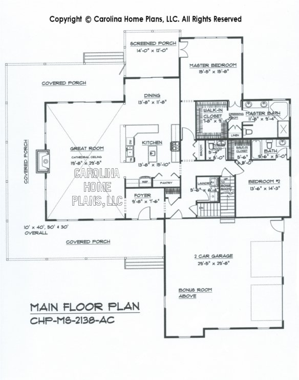 Midsize country cottage house plan chp ms 2138 ac sq ft for House plans ms