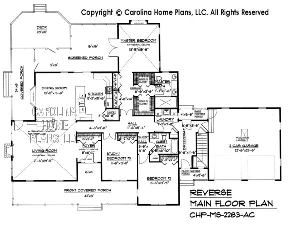Midsize country style house plan chp ms 2283 ac sq ft for Reverse house plans