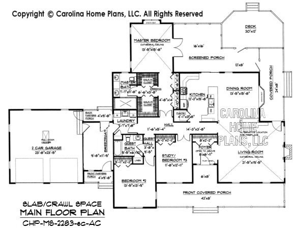 Midsize country style house plan chp ms 2283 ac sq ft for Crawl space house plans