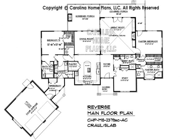 Midsize craftsman house plan chp ms 2379 ac sq ft for Crawl space house plans