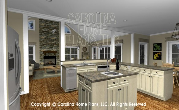 MS-2390-AC 3D Kitchen to Great Room and Fireplace