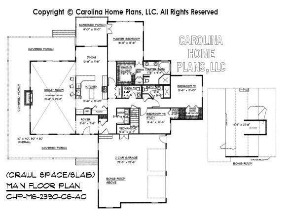MS-2390 Main Floor with Bonus Room, crawl/slab
