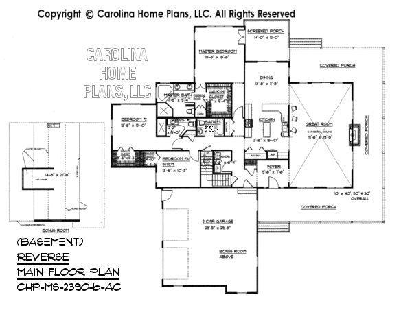 MS-2390 Reverse Main Floor Plan with Bonus Room