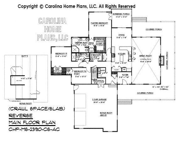MS-2390 Reverse Main Floor Plan with Bonus Room, crawl/slab