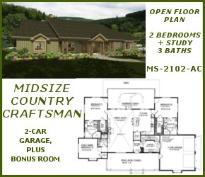 MS-2102-AC Country Craftsman House Plan