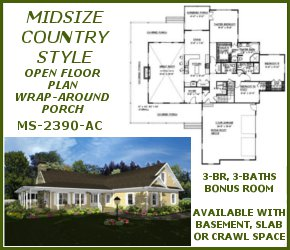 MS-2390-AC Midsize Country Style House Plan