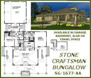 sg-1677-Stone Craftsman Bungalow Plan