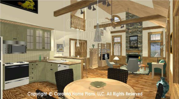 Small 2 story open house plan chp sm 1568 a2s sq ft for 2 story great room house plans